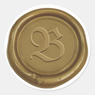 Letra de encargo del monograma del sello de bronce pegatina redonda