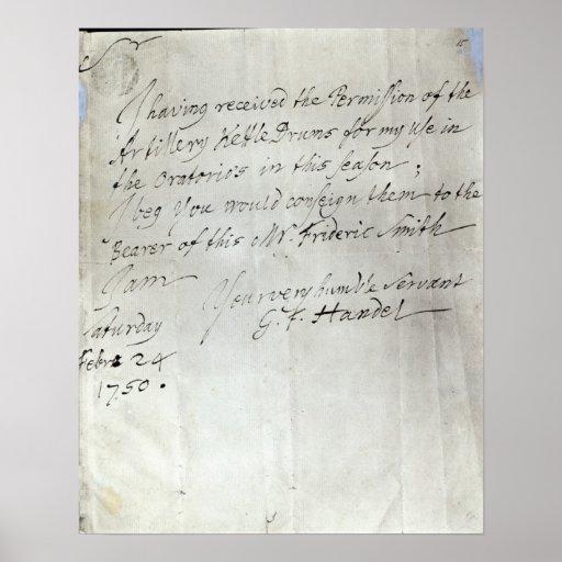 Letra de George Frederick Handel Póster