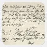 Letra de George III a su abuelo Pegatina Cuadrada