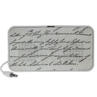 Letra de Guillermo IV a señora Nelson Altavoces De Viaje