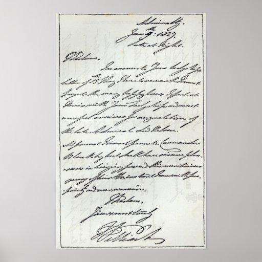 Letra de Guillermo IV a señora Nelson Impresiones