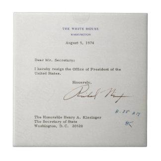 Letra de la dimisión de Richard M. Nixon 1974 Azulejo Cuadrado Pequeño