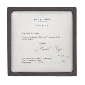 Letra de la dimisión de Richard M. Nixon 1974 Cajas De Recuerdo De Calidad
