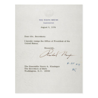 Letra de la dimisión de Richard M. Nixon 1974 Tarjeta Postal