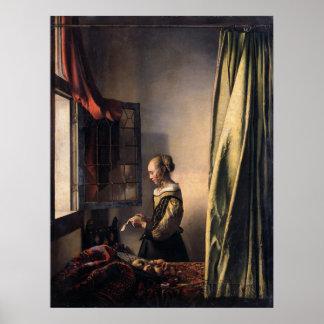 Letra de la lectura del chica en la ventana abiert poster
