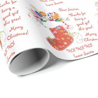 Letra de la media de Navidad del navidad de Santa Papel De Regalo
