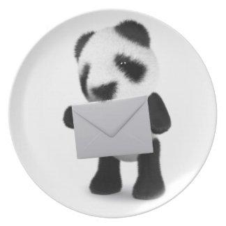 letra de la panda del bebé 3d platos para fiestas