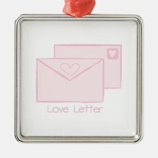 Letra de Letter_Love Adorno Cuadrado Plateado
