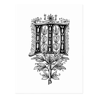 Letra de lujo elegante del monograma M Postal