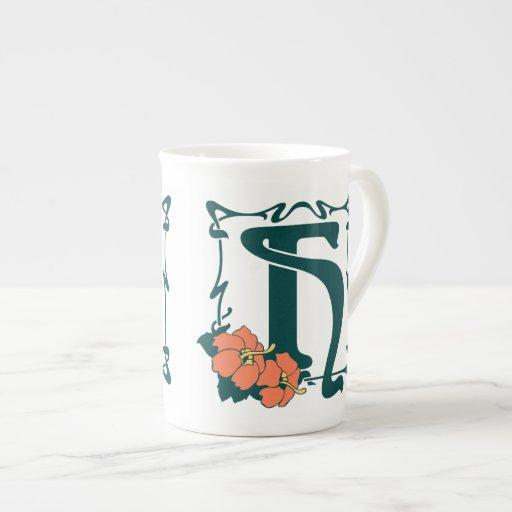 Letra de lujo H del nouveau del arte del vintage Tazas De Porcelana