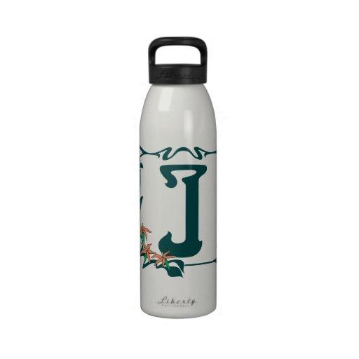 Letra de lujo J del nouveau del arte del vintage Botella De Agua