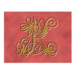 Letra de lujo K, color del monograma del Tarjetas Postales