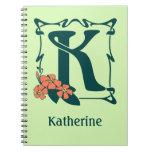 Letra de lujo K del nouveau del arte del vintage Cuadernos