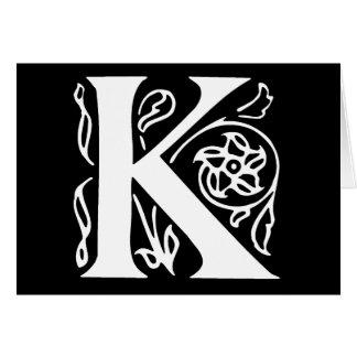Letra de lujo K Tarjeta De Felicitación
