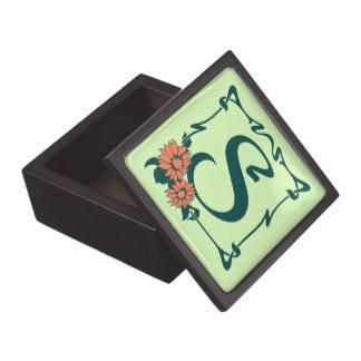 Letra de lujo S del nouveau del arte del vintage Cajas De Joyas De Calidad