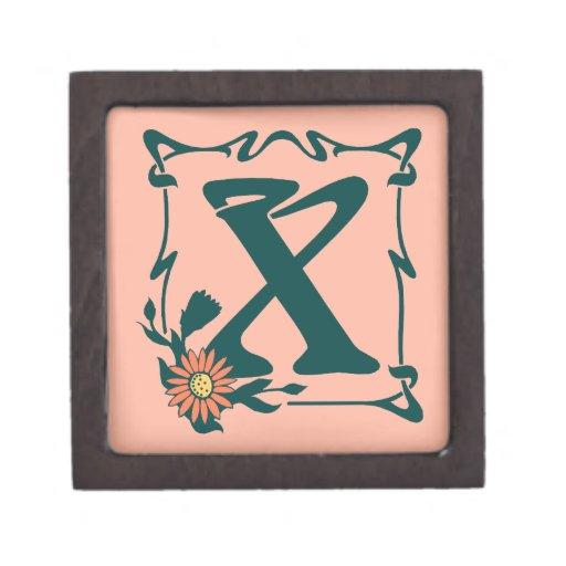 Letra de lujo X del nouveau del arte del vintage Caja De Joyas De Calidad