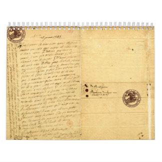 Letra de Michel de Montaigne 1585 Calendario De Pared
