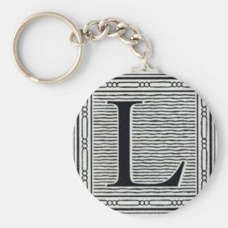 """Letra de molde """"L"""" inicial de Woodblock del grabar Llaveros"""