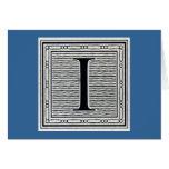 """Letra de molde """"yo"""" inicial de Woodblock del graba Tarjetón"""