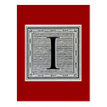 "Letra de molde ""yo"" inicial de Woodblock del graba Postal"