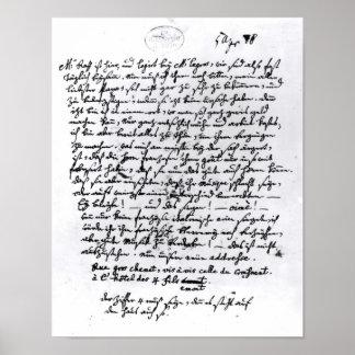 Letra de Mozart a su padre, el 5 de abril Posters