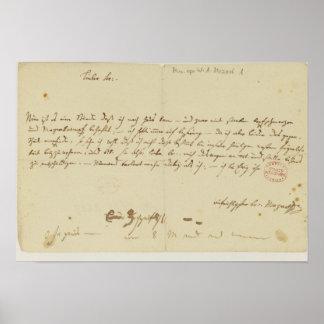 Letra de Mozart a un freemason, enero de 1786 Póster