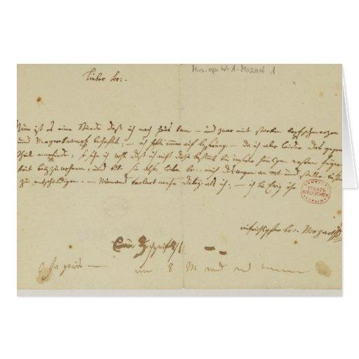 Letra de Mozart a un freemason, enero de 1786 Tarjeta De Felicitación