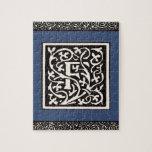 Letra de Nouveau del arte del monograma F del vint Rompecabezas Con Fotos