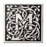 Letra de Nouveau del arte del monograma M del vint Azulejos