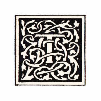 Letra de Nouveau del arte del monograma T del Imán Fotoescultura
