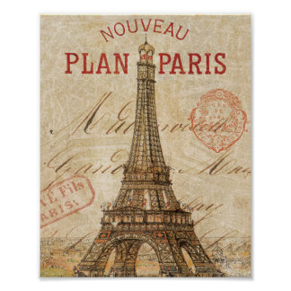 Letra de París Póster