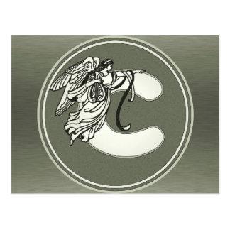 Letra de plata c del monograma del ángel tarjetas postales