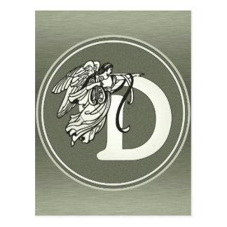 Letra de plata D del monograma del ángel Postales