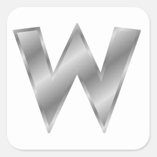 Letra de plata W Calcomania Cuadradas Personalizadas
