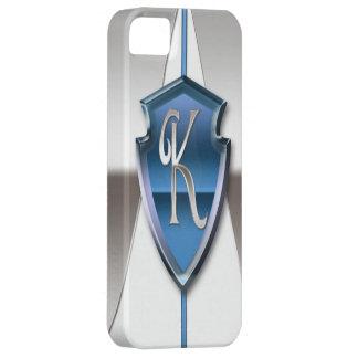 Letra de plata y azul K del monograma iPhone 5 Carcasas