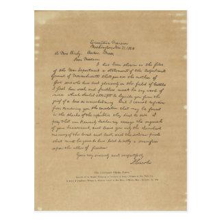 Letra de presidente Abraham Lincoln a señora Bixby Postal