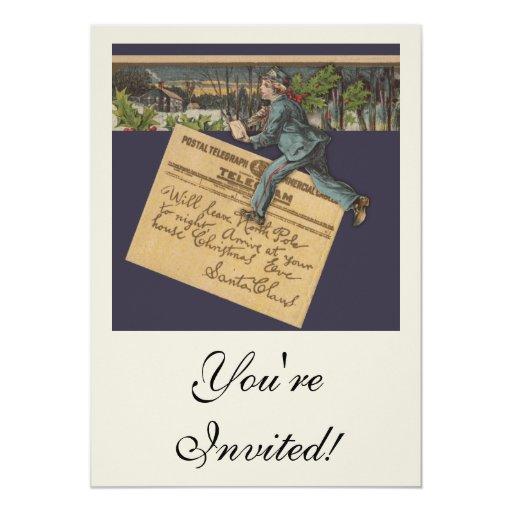 Letra de Santa del vintage Invitación 12,7 X 17,8 Cm
