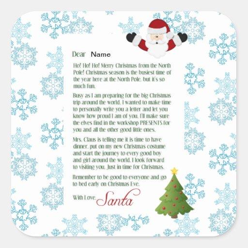 Letra de Santa Pegatina Cuadrada