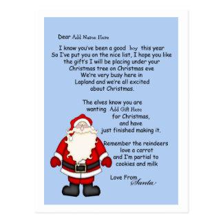 Letra de Santa Postales