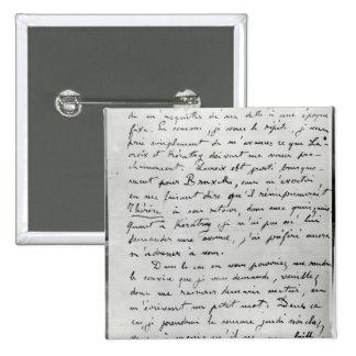 Letra de Zola a Eduardo Manet 1868 Pin Cuadrada 5 Cm