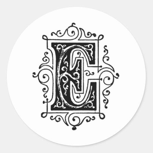Letra decorativa de E Pegatina Redonda