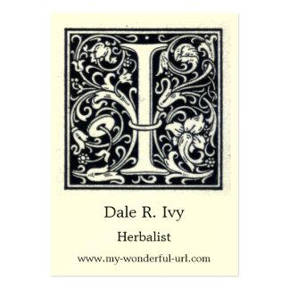 """Letra decorativa """"yo"""" inicial de Woodblock del gra Plantillas De Tarjeta De Negocio"""