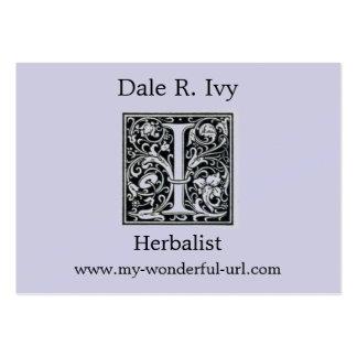 """Letra decorativa """"yo"""" inicial de Woodblock del gra Tarjetas De Negocios"""