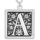 Letra del alfabeto de la flor del renacimiento un pendientes personalizados