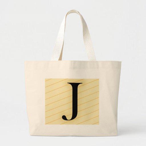 Letra del monograma - J (naranja) Bolsa De Mano