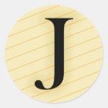 Letra del monograma - J (naranja) Pegatinas Redondas
