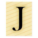 Letra del monograma - J (naranja) Postal