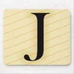 Letra del monograma - J (naranja) Alfombrilla De Ratones