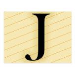 Letra del monograma - J (naranja) Tarjetas Postales