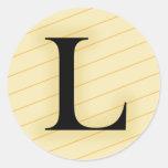 Letra del monograma - L (naranja) Etiquetas
